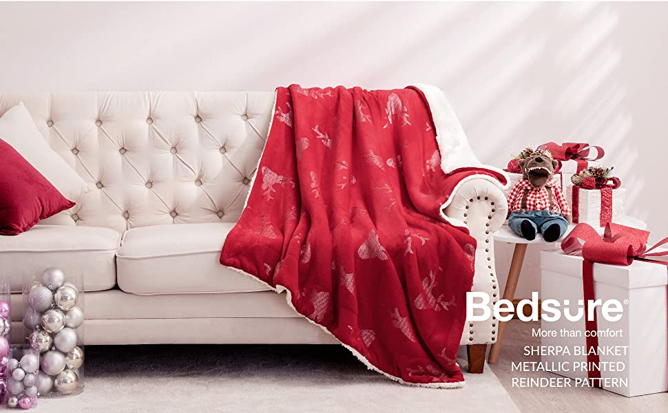 Bedsure Metallic Sherpa Fleece Christmas Blanket