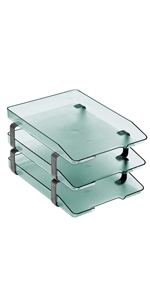 acrimet traditional letter tray 3 tier front load clear green color