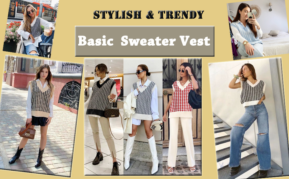 Houndstooth Knitted Vest Sweater V Neck Sleeveless Side Vents Female Waistcoat Chic Sweater Vests