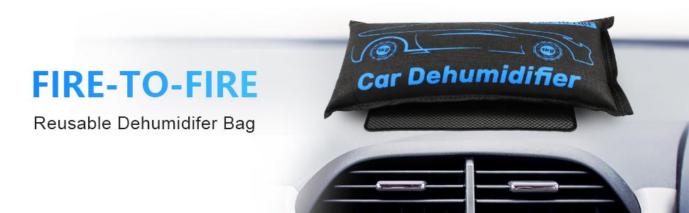 Mould Keep Windows Fog-Free Include Anti-slip Pad Reusable Silica Gel Moisture Absorber Bag Prevent Condensation 1KG*2 Fire-to-Fire Car Dehumidifier Bag Automotive Dehumidifier for car