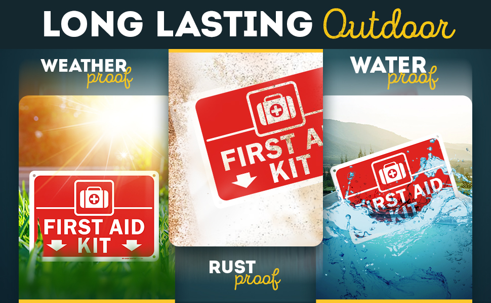 first, aid, kit, sign, signs, safety, sticker, workplace, poster, business, lightweight, office