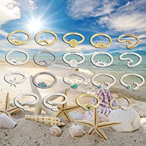 Silver and Gold Wave Rings