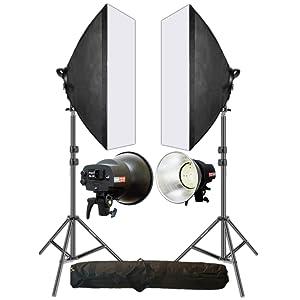 led video light softbox kit double