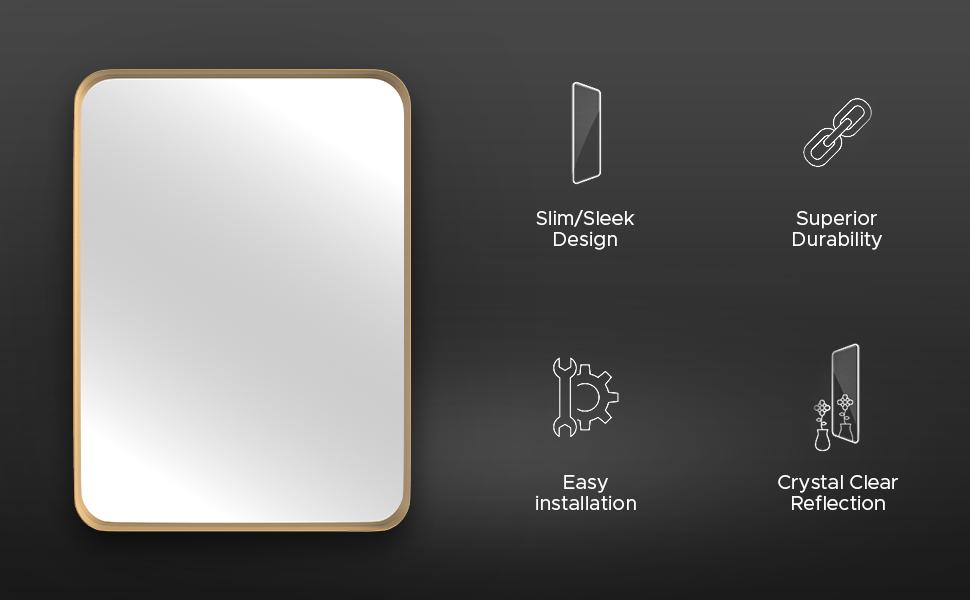 slim sleek design full length body mirror crystal clear reflection hardware included