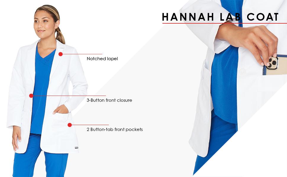 Barco grey's anatomy hannah lab coat infographic