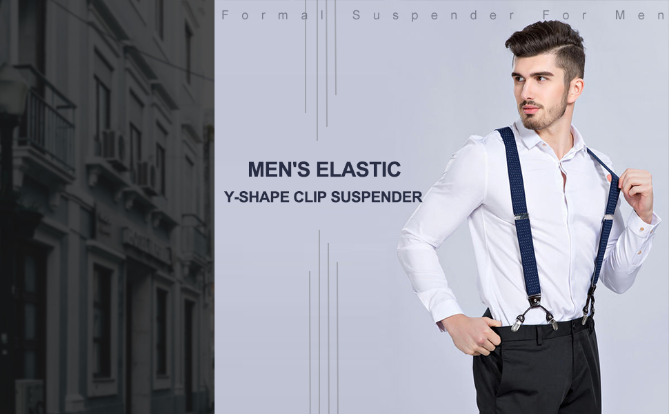 Panegy Mens Braces Vintage 6 Clips Elastic Y-Shape Adjustable Braces Suspenders