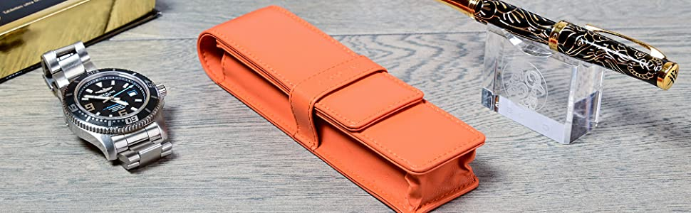 DiLoro Leather Pen Pencil Case in exciting new colors
