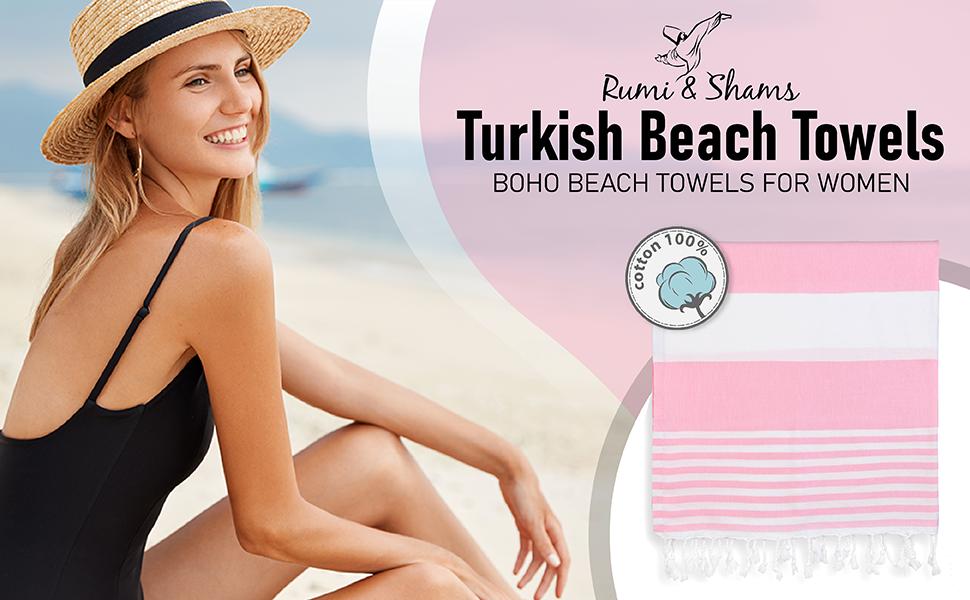 beach towel with girl in a beach