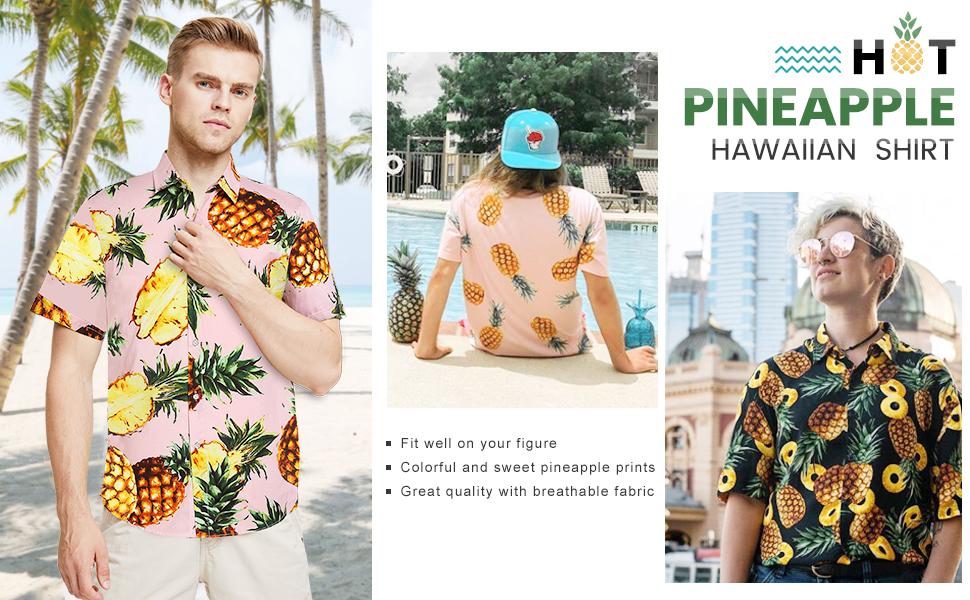 SSLR Camisa Manga Corta de Algodón Estampado de Piñas Tropical Estilo Hawaiano de Hombre: Amazon.es: Ropa y accesorios