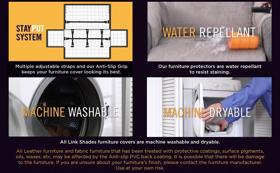 stay put system water repellant machine washable machine dryable
