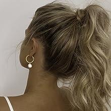 Pearl Hoop Earrings girl model fashion ear ring