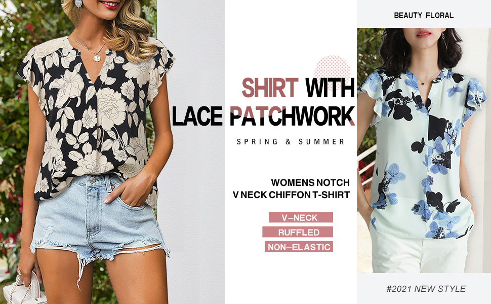womens blouses for work floral printed  sheer summer sexy lace casual tops