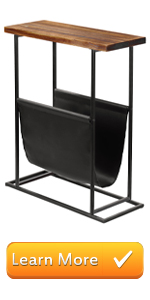 21-Inch Modern Wood & Metal End Table with Magazine Holder Sling