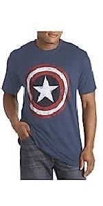 True Nation Big amp; Tall Marvel Comics Captain America Graphic Tee