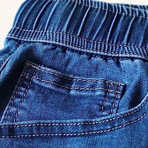 elastic waistband mid waisted denim shorts for women