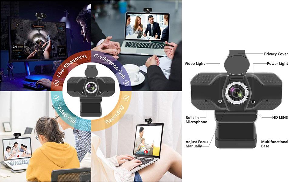 HD Webcam 1080P, USB Desktop Laptop Camera