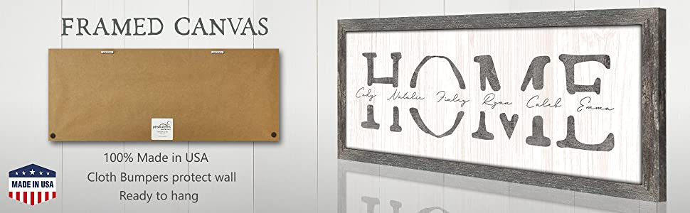 Home family names personalized signs framed canvas detail made in the USA