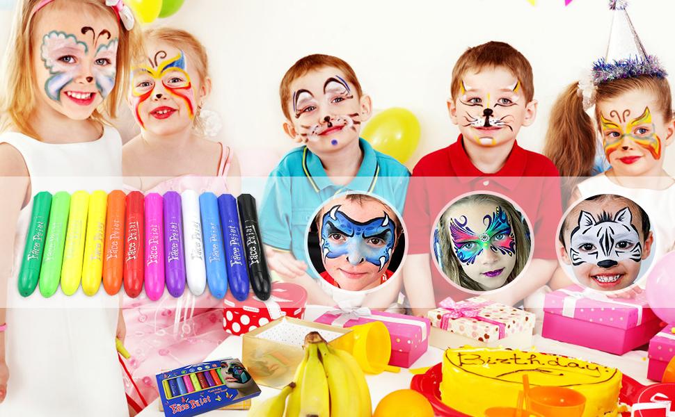halloween Pascua de Resurrección Pintura Facial,Buluri 12 Colores Face Paint Crayons Conjuntos de Pintura Corporal Faciales Seguros y con 40 Plantillas,Perfectos para Carnaval,Santa, Cosplay, Fiestas: Amazon.es: Juguetes y juegos