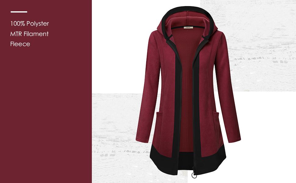 women fleece hooded jacket outwear black fleece jacket women with hood comfy fleece coat