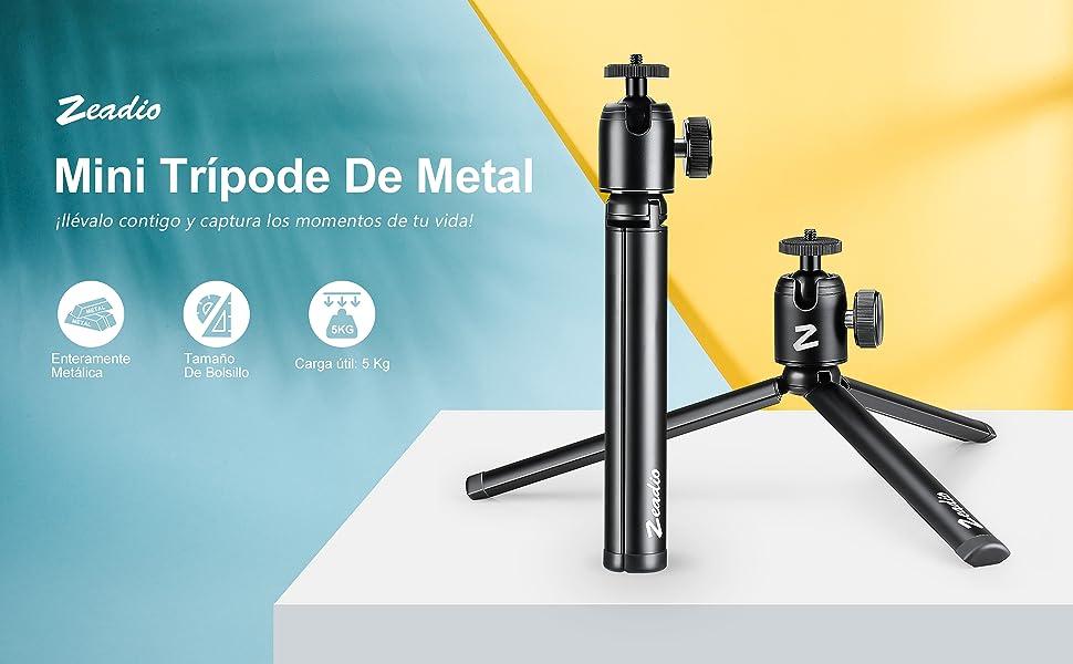 Zeadio Mini trípode de metal+soporte de rótula, trípode de ...
