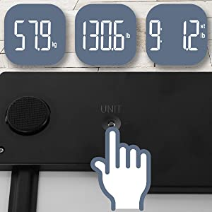 unit, change, alter, alternate, adjust, press, button, underneath, hidden, kg, lb, st, press, push