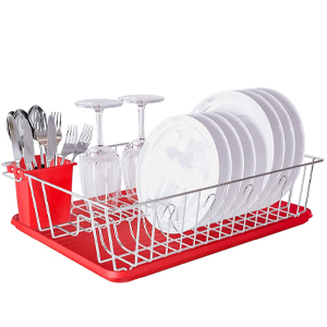 Home Intuition 3-Piece Dish Drying Rack Drainer Set