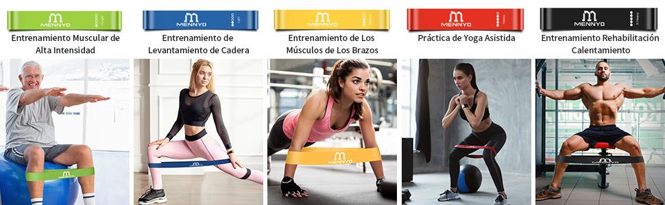 MENNYO Bandas Elasticas Musculacion, Bandas Elásticas Fitness Cintas Elasticas Musculacion para Resistencia, Terapia Física, Fitness en el Hogar