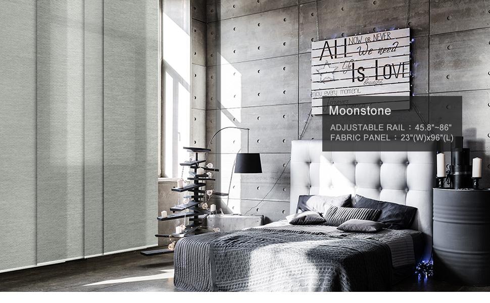 GoDear Design Adjustable Sliding Panel Track Blind Grey Moonstone