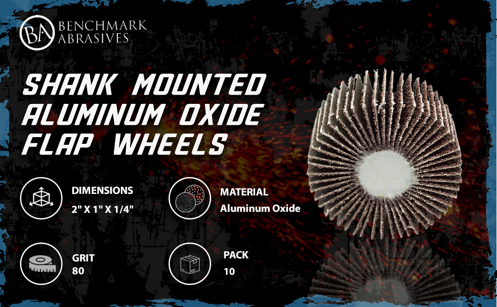 "(B0163CLDWC) 2"" x 1"" x 1/4"" Shank Mounted Aluminum Oxide Flap Wheels 80 Grit"