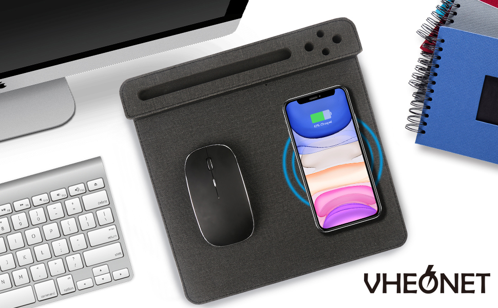 VHEONET 10W Fast Wireless Charger Mouse Pad Mat Qi phone  Fashionable Anti-slip fabric pen holder