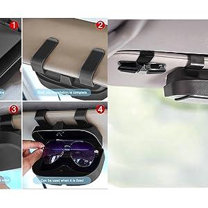Senhai Brillen Organizer Und Brillenhalter Clip Für Auto Sonnenblende Sonnenbrillenetui Mit Kreditkartenclip Passend Für Alle Fahrzeugmodelle Bekleidung