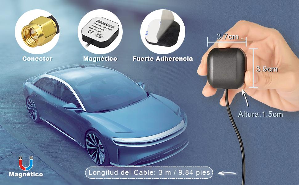 Fuerte adherencia Magnético Longitud del cable: 3 m / 9.84 pies