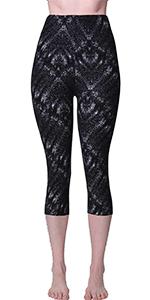 printed leggings capris soft brushed stretchy elastic waistband plus regular size