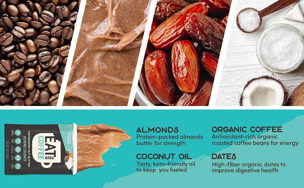 Almonds, Peanuts, Dates, Gluten-Free Oats Organic Dark Chocolate caffeine bars delicious nutritious