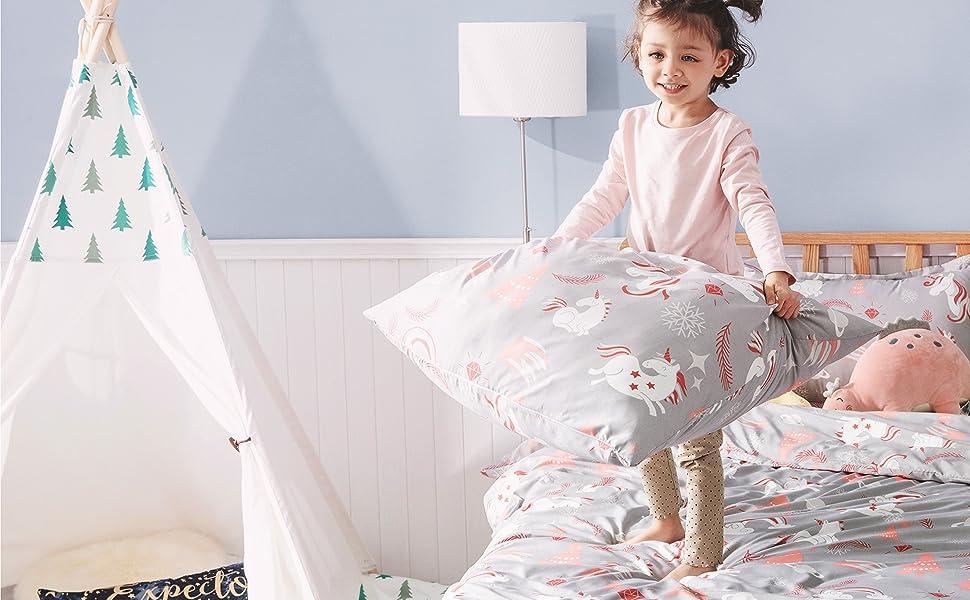 Bedsure Bettw/äsche Kinder 100 x 135 cm Kinderbettw/äsche 100x135 M/ädchen Unicorn Baby Bettw/äsche aus Mikrofaser Bettw/äsche Einhorn Muster mit 40x60 cm Kissenbezug