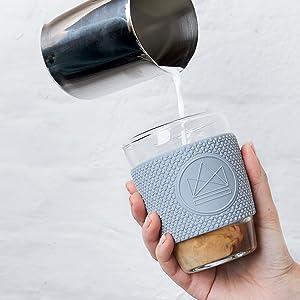 in vetro Blu pastello Tazza da caff/è riutilizzabile Neon Kactus