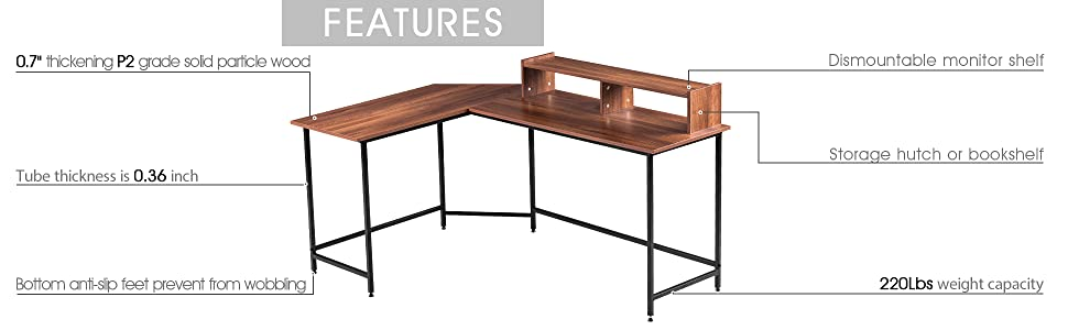 L-Shaped Corner Desk Computer Gaming Desk with Monitor Stand Riser,Home Office Writing Workstation