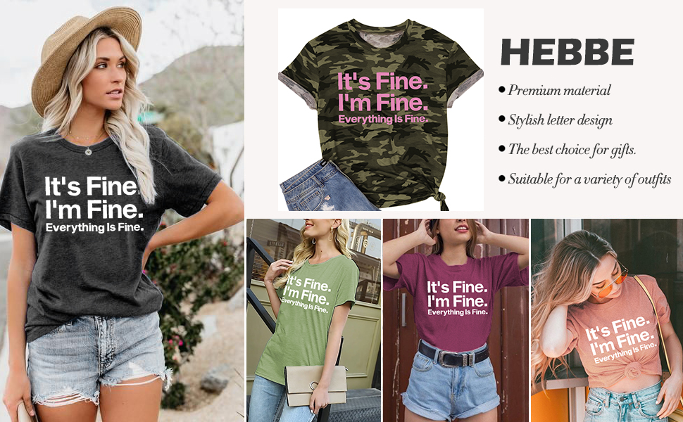 lukycild its fine im fine everything is fine sarcastic shirt women short sleeve funny graphic tee