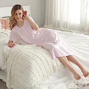 Women Nightgown Cotton Short Sleeve