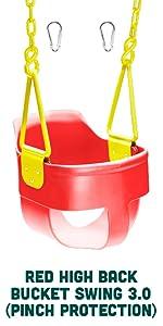 Red High Back Full Bucket Toddler Swing Seat 3.0