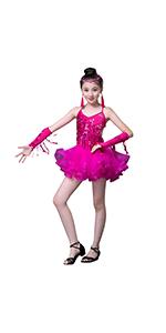 besbomig Ni/ños Fiesta De Concurso Dancewear Vestido de Baile Latino Salsa Tango Chicas Lentejuelas Borla Ballroom Danza Vestido