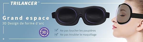 Bandeau r/églable Masque de sommeil pour homme et femme 3D confortable et doux en mousse /à m/émoire de forme Parfait pour les voyages le travail de couche et la m/éditation Avec bouchons doreille