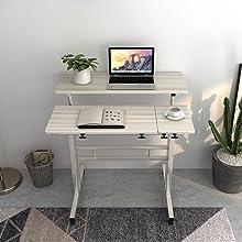 DlandHome Carro de Escritorio Sentado & de Pie Mesa de Escritorio móvil de Altura Ajustable para Sentarse Mesa Vertical de pie Escritorio móvil de la estación de Trabajo, Arce: Amazon.es: Hogar