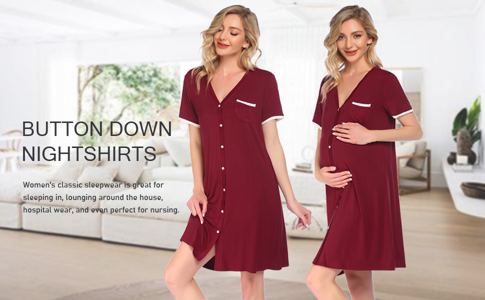 V Neck Nightgowns for Women