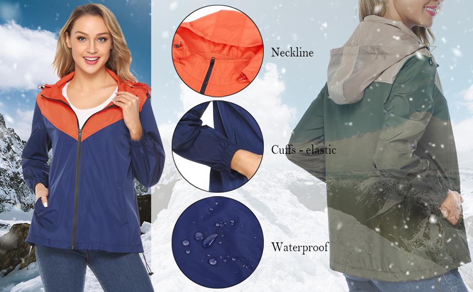 Womens Waterproof Jacket Raincoat Colorblock Lightweight Rain Jacket Quick Dry Raincoat