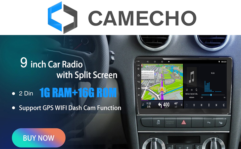 Camecho Upgrade Double Din Car Stereo 9 inch Android Car Radio with Bluetooth Split Screen Multimedia Video Player Support USB//FM//SWC+Backup Camera