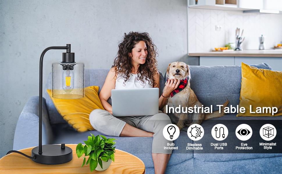 Industrial pendant lighting for nightstand bedroom living-room office