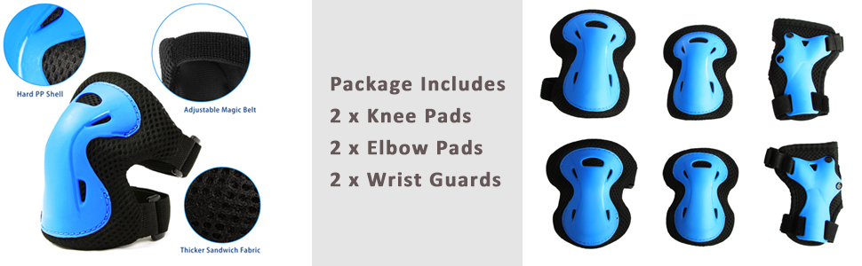 kids knee pads and elbow pads with wrist guards