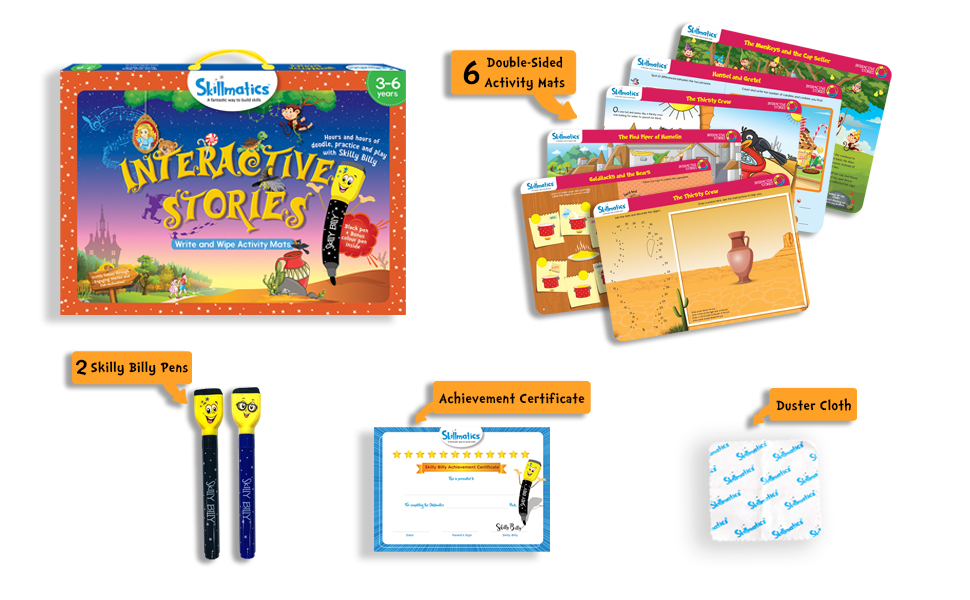 Skillmatics Educational Game: Interactive Stories (3-6 Years) | Erasable and Reusable Activity Mats | Fun Learning Tools for Kids