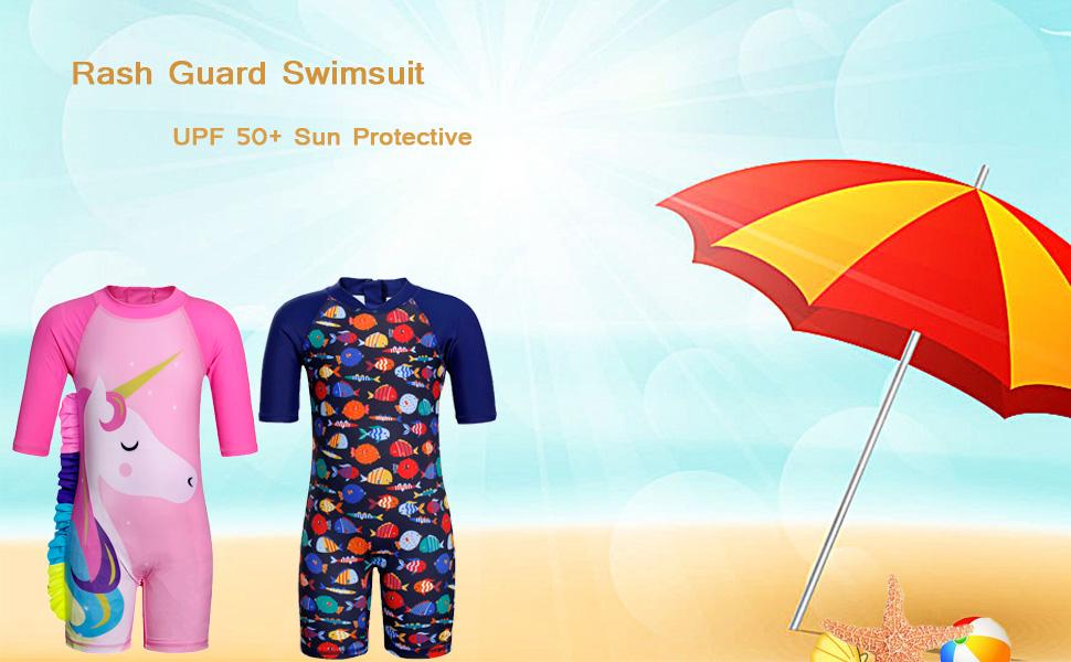 Short Sleeve One Piece Swimwear Jurebecia Toddler Girls Swimsuit Rash Guard UPF 50
